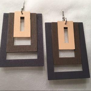 Jewelry - Light Wood Tri Color Earrings
